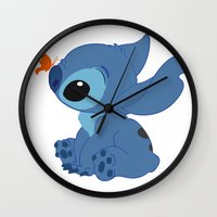 lilo and stitch Wall Clocks featuring Stitch by Alexbookpages