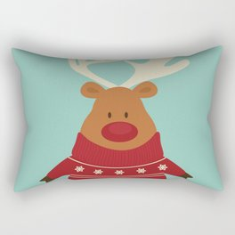 Rudolph Red Nosed Reindeer in Ugly Christmas Sweaters Rectangular Pillow