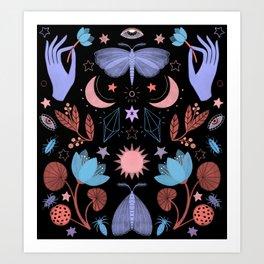 Lotus and Moths (colored) Art Print