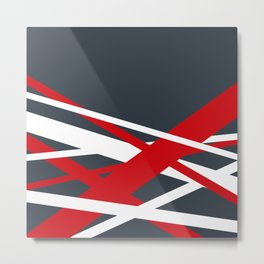 Navy diagonal stripes Metal Print