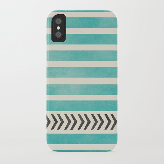 TEAL STRIPES AND ARROWS iPhone Case