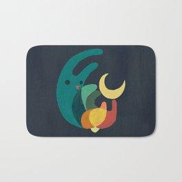 Rabbit and crescent moon Bath Mat