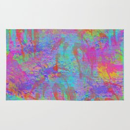Whimsical pink teal neon green yellow abstract watercolor Rug