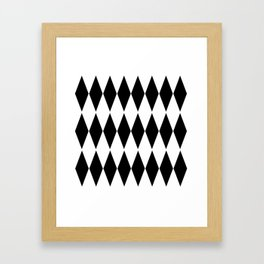 LARGE  WHITE AND BLACK   HARLEQUIN DIAMOND PATTERN Framed Art Print