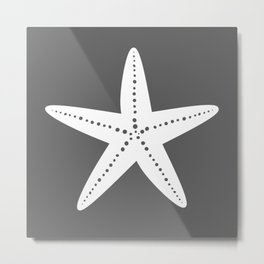 Starfish (White & Grey) Metal Print