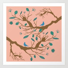Birds on a branch 1 Art Print