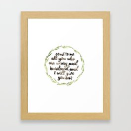 Matthew 11:28 Wreath Framed Art Print