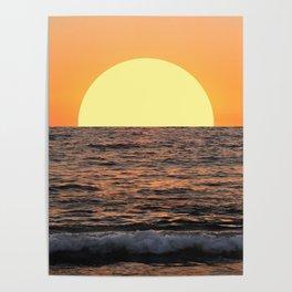 Fiery Ocean Sunset Poster