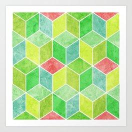Green and Pink Geometric Hexagons Digital Pattern Art Print