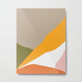 Minimal Landscape Collage 3.1 Orange & Green  Metal Print