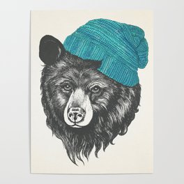 bear in blue Poster