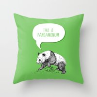 pun Throw Pillows featuring Panda Pun by Zeke Tucker