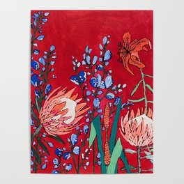 Red and Blue Floral with Peach Proteas Poster