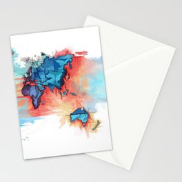 watercolour map Stationery Cards