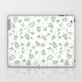 Green Leaves Design on White Laptop & iPad Skin