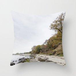 Along The Cliff On Baltic Sea Throw Pillow