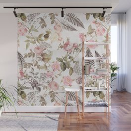 Vintage & Shabby Chic - Blush Roses and Fern Leaf Wall Mural