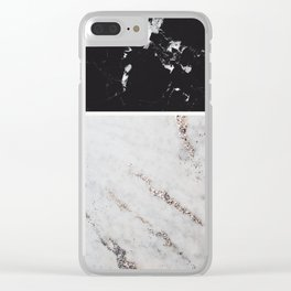 Black Marble & White Glitter Marble #1 #decor #art #society6 Clear iPhone Case
