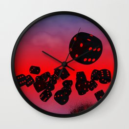 dices black-red Wall Clock