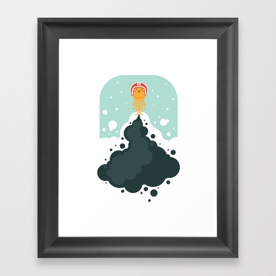 Rocket Octopus Framed Art Print