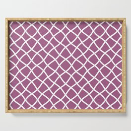 Mauve and white curved grid pattern Serving Tray