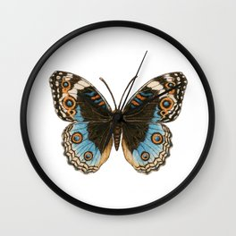 Blue Pansy Butterfly Wall Clock