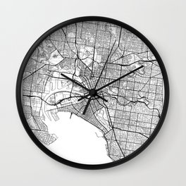 Melbourne Map White Wall Clock