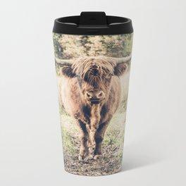 Highland scottish cow cattle long horn Metal Travel Mug
