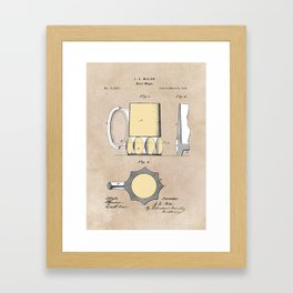 patent Beer Mugs Framed Art Print