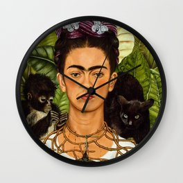 SELF PORTRAIT WITH THORN NECKLACE AND HUMMING BIRD - FRIDA KAHLO Wall Clock