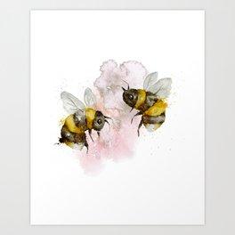 Watercolour Bees Cute Nursery Wall Art Print Illustration Art Print