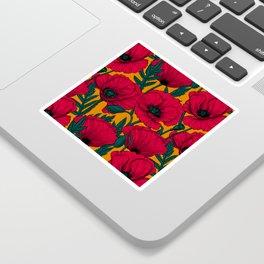 Red poppy garden    Sticker