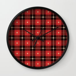 Red Lumberjack Pattern Wall Clock