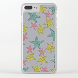 Starfish gray background Clear iPhone Case