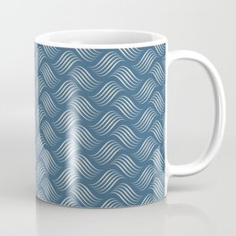 Linen Off White Wavy Tessellation Line Pattern on Blue - 2020 Color of the Year Chinese Porcelain Coffee Mug