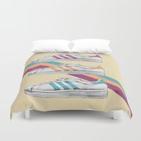 sneakers Duvet Covers featuring My old Sneakers by Crazy Cool Animals