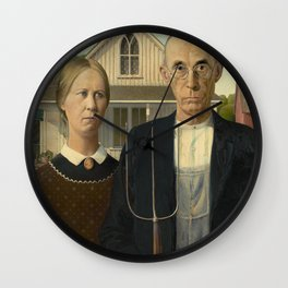 American Gothic, Classic Art Painting, Grant Wood Wall Clock