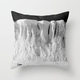 Antarctic Explorer beneath the Glacier black and white photography / photographs by Herbert Ponting Throw Pillow