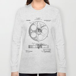 Film Reel Patent - Classic Cinema Art - Black And White Long Sleeve T-shirt