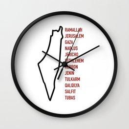 Palestinian Cities x White Wall Clock