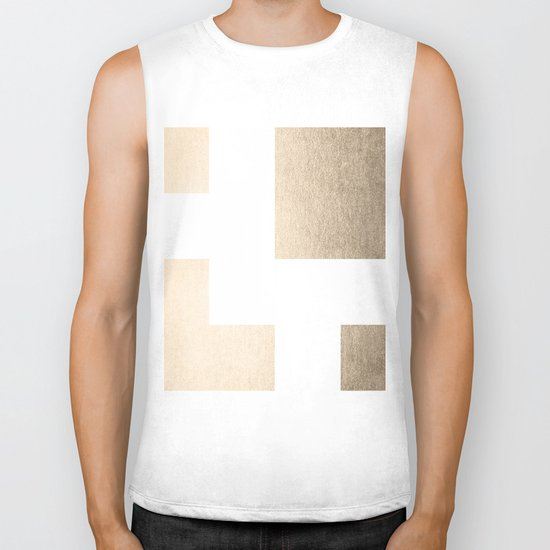 Simply Geometric in White Gold Sands on White Biker Tank