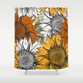 Beautiful pattern from hand drawn sunflowers Shower Curtain