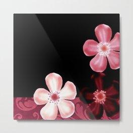 Retro 70s Flowers Pink Mauve Metal Print