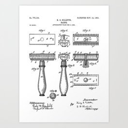 Razor Patent - Barber Art - Black And White Art Print