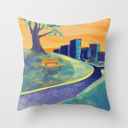 Serenity of the Park Bench at Sunset Throw Pillow