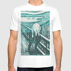 The Scream's Haze (light blue) White MEDIUM Mens Fitted Tee