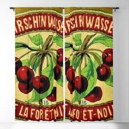 Vintage 1965 French Cherry Wine Bottle Label Kirchenwasser De La Foret-Noire Blackout Curtain