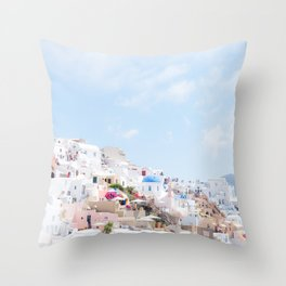 Pastel Colored View on Santorini Greece Throw Pillow