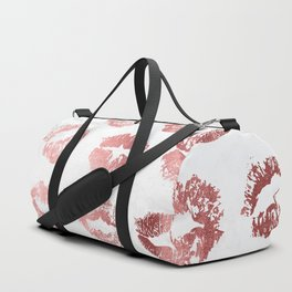 Fashion Lips Rose Gold Lipstick on Marble Duffle Bag