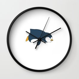 penguin lazy tired lazy funny woman children gift Wall Clock